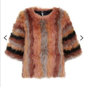 Topshop Striped Marabou Jacket US 4 NWOT